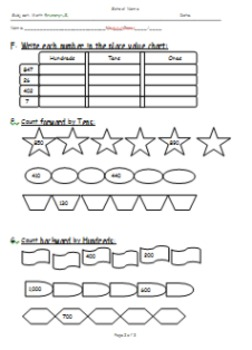 Primary Grade 2 Math Exam: Place Value, Counting Forward/Backward and Ordinals