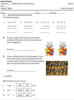 Primary Grade 3 Math Exam Place Values, Add, Subtract, and Length