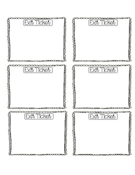 Primary Grade Exit Tickets