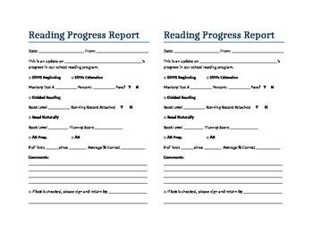 Primary Grade Reading Progress Report