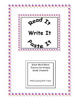 Harcourt Trophies First Grade Spelling (Books 1 & 2) Read It, Write It, Paste It