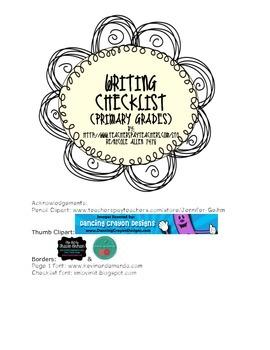 Primary Grade Writing Checklist