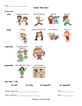 Primary Grades Behavior Think Sheet with Graphics