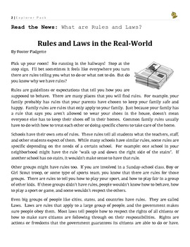 Primary Grades Explorer Pack - Rules and Laws