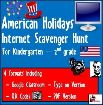 Internet Scavenger Hunt - Primary Grades - American Holidays