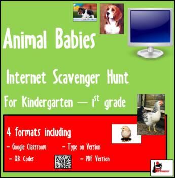 Internet Scavenger Hunt - Primary Grades -  Animal Babies