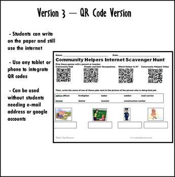 Internet Scavenger Hunt - Primary Grades - Community Helpers