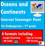 Internet Scavenger Hunt - Primary Grades - Continents and Oceans