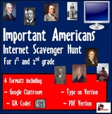 Internet Scavenger Hunt - Primary Grades - Important Americans