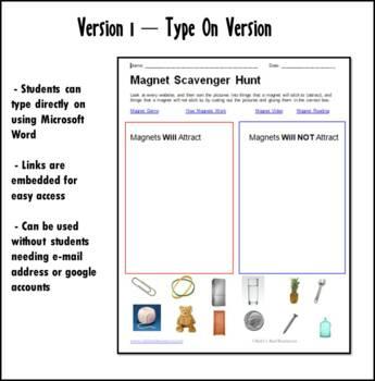 Internet Scavenger Hunt - Primary Grades - Magnets