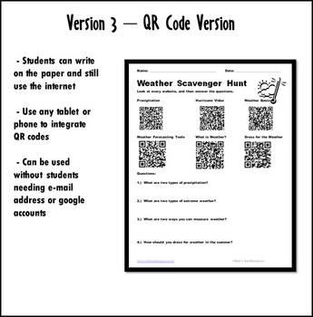 Internet Scavenger Hunt - Primary Grades - Weather