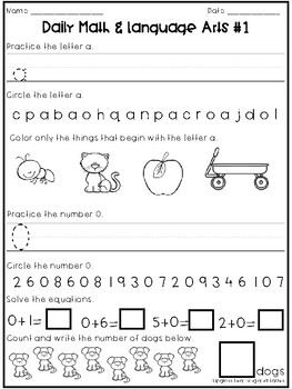 Primary Grades Morning Work Pages