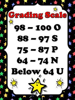 Primary Grading Scale Poster 3 - Superstars Theme - King Virtue
