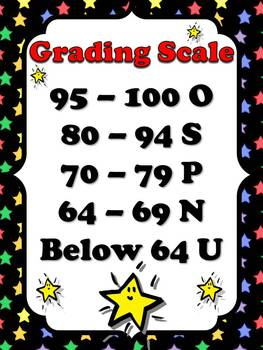 Primary Grading Scale Poster - Superstars Theme - King Virtue