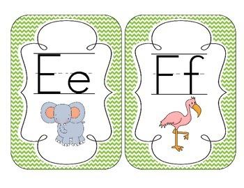 Primary Green Chevron Alphabet Cards
