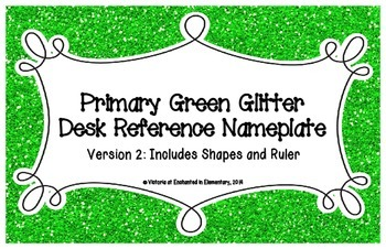 Primary Green Glitter Desk Reference Nameplates Version 2