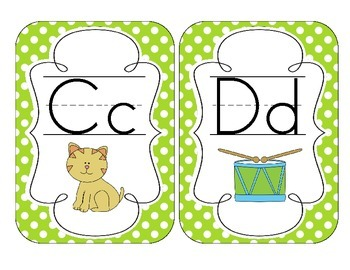 Primary Green Polka Dot Alphabet Cards