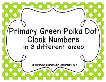 Primary Green Polka Dot Clock Numbers