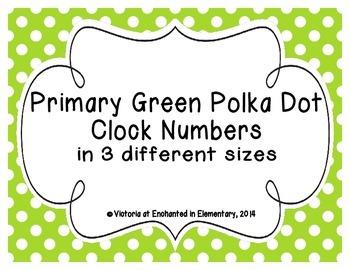 Primary Green Polka Dot Clock Numbers