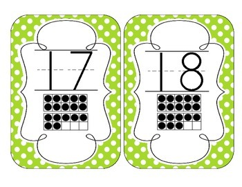 Primary Green Polka Dot Number Cards 1-20