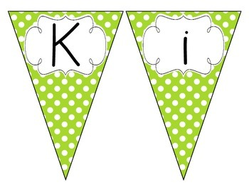 Primary Green Polka Dot Welcome Pennant