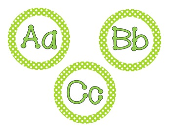 Primary Green Polka Dot Word Wall Cards