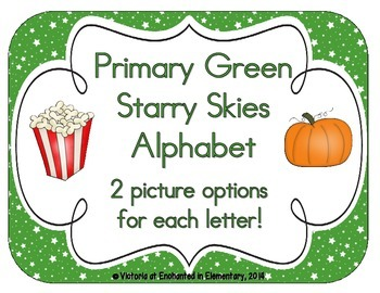 Primary Green Starry Skies Alphabet Cards