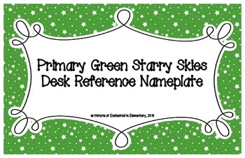 Primary Green Starry Skies Desk Reference Nameplates