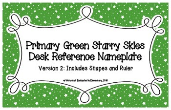 Primary Green Starry Skies Desk Reference Nameplates Version 2