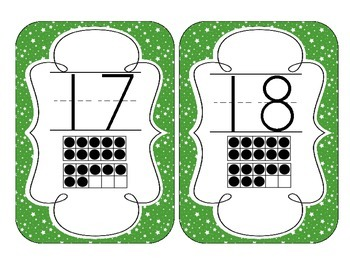Primary Green Starry Skies Number Cards 1-20
