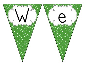 Primary Green Starry Skies Welcome Pennant