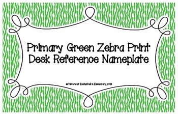 Primary Green Zebra Print Desk Reference Nameplates