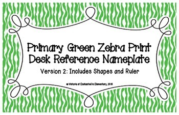 Primary Green Zebra Print Desk Reference Nameplates Version 2