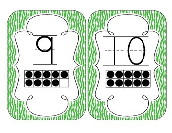 Primary Green Zebra Print Number Cards 1-20