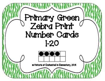 Primary Green Zebra Print Number Cards 1-20
