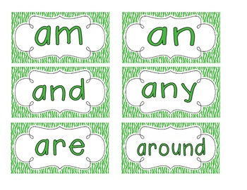 Primary Green Zebra Print Word Wall Cards