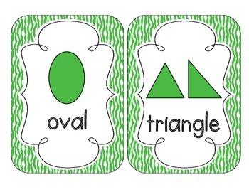 Primary Green Zebra Print Shape Cards
