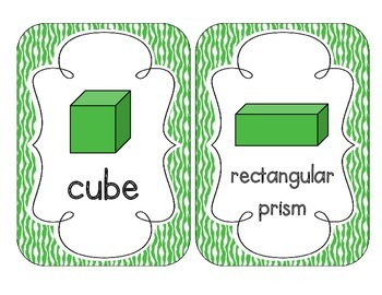 Primary Green Zebra Print Shape Cards