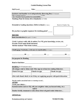 Primary Guided Reading Lesson Plan Form