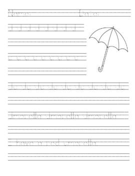 Primary Handwriting Practice - Letter U