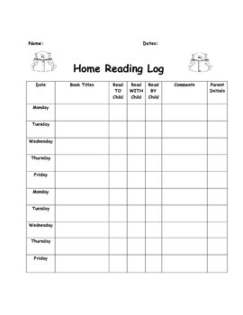Primary Home Reading Log