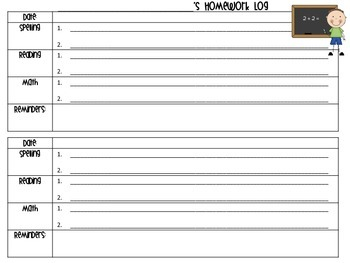 Primary Homework Agenda/Log