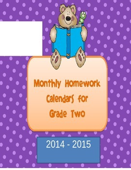 Homework Calendars for Grade Two 2015-2016