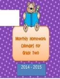Homework Calendars for Grade Two 2015-2016