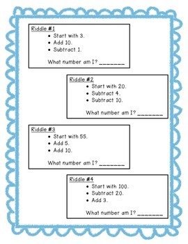 Primary Hundreds Chart Riddles