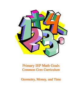 Primary IEP Math Goals Common Core Curriculum, Geometry, M