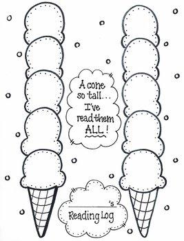 Primary 'Ice Cream Cone' READING LOG
