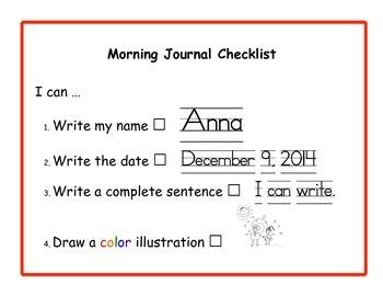 Primary Journal Checklist
