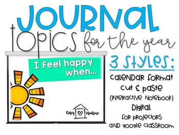 Pretty No-Prep Primary Journal Topics for the Year! *UPDATED*
