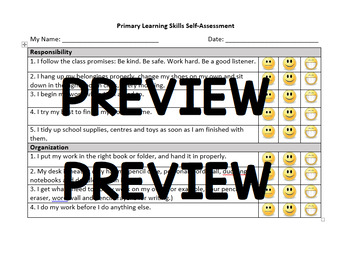Primary Learning Skills Self-Assessment (Ontario Progress Report)